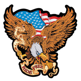 Lethal Threat® Embroidered Patch - USA Ride Free Eagle