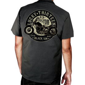Lucky 13 Black Sin Button Up Work Shirt