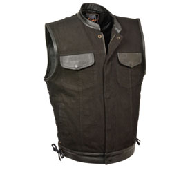 Milwaukee Leather Denim Side Lace Club Style Leather Trim Motorcycle Vest