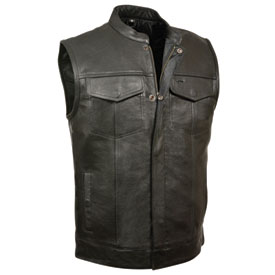 Milwaukee Leather Open Neck Zip/Snap Club Motorcycle Vest XX-Large Black