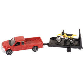 New Ray Red Ford F250 with Trailer & Suzuki Bike