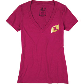 One Industries Icon Gold Ladies V-Neck T-Shirt