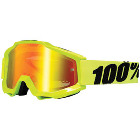 100% Accuri Goggle  Fluo Yellow Frame/Red Mirror Lens