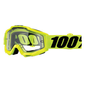 100% Accuri Enduro Goggle  Fluo Yellow Frame/Clear Dual Lens