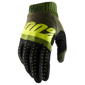 100% Ridefit Gloves Small Army Green/Fluo Lime/Fatigue