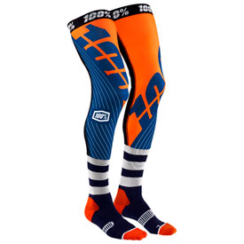 100% Rev Knee Brace Socks Size 6-10 Navy/Orange