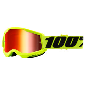 100% Youth Strata 2 Goggle  Yellow Frame/Red Mirror Lens