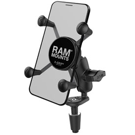 Ram Mounts Fork Stem Mount with Short Double Socket Arm and Universal Ram X-Grip Phone Holder