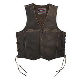 River Road Drifter Distressed Leather Motorcycle Vest