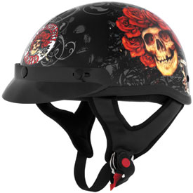 River Road Grateful Dead Skull & Roses Half-Face Motorcycle Helmet
