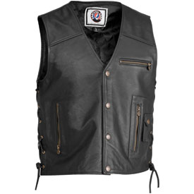 River Road Grateful Dead Color Logo Leather Motorcycle Vest