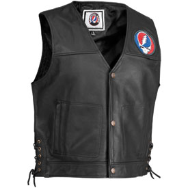 River Road Grateful Dead Steal Your Face Pinstripe Leather Motorcycle Vest