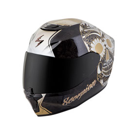 Scorpion Women's EXO-R420 Sugarskull Helmet X-Small Black/Gold