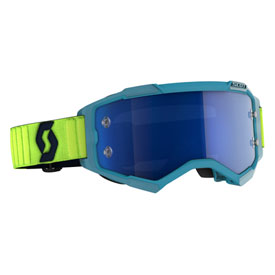 Scott Fury Goggle  Teal Blue-Neon Yellow Frame/Electric Blue Chrome Lens