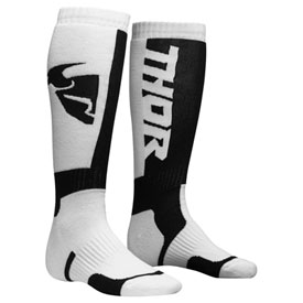 Thor Youth MX Socks Size 1-7 White/Black