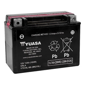 YUASA No Maintenance Battery with Acid YTX15LBS