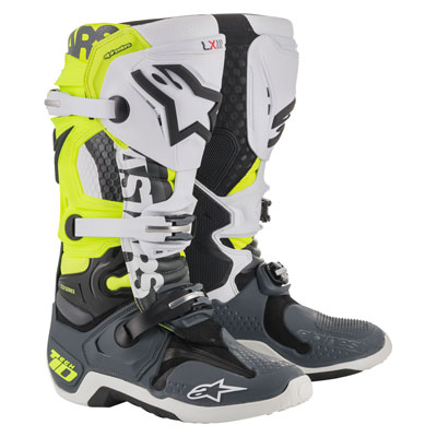 Alpinestars Tech 10 LE Angel Boots Size 12 Grey/Flo Yellow