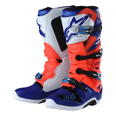 Alpinestars TLD Tech 7 Boots Size 10 Flo Red/Blue