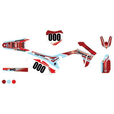 Attack Graphics Custom Blitz Complete Bike Graphics Kit Brick Red/Baby Blue