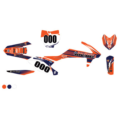 Attack Graphics Custom Blitz Complete Bike Graphics Kit Orange/Navy