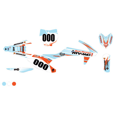 Attack Graphics Custom Blitz Complete Bike Graphics Kit White/Baby Blue