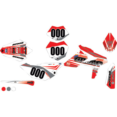 Attack Graphics Custom Blitz Complete Bike Graphics Kit Red/White