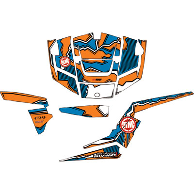 Attack Graphics QUAKE Complete UTV Graphics Kit White/Orange/Voodoo Blue
