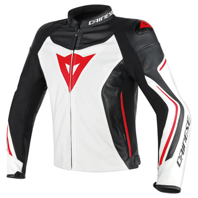 Dainese Assen Perforated Leather Jacket Euro 48 White/Black/Red Lava