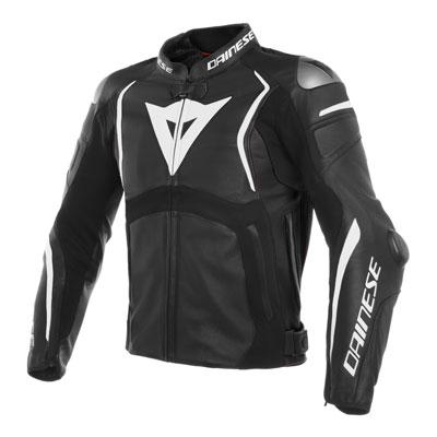 Dainese Mugello Perforated Leather Jacket Euro 52 Black/Black/White