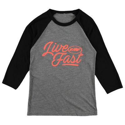 FMF Women's Live Fast 3/4 Sleeve Raglan T-Shirt Small Charcoal Heather/Black