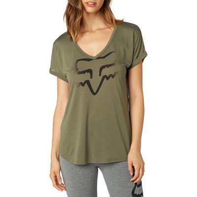 Fox Racing Women's Responded V-Neck T-Shirt 2017 Large Fatigue Green