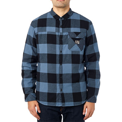 Fox Racing Chicane Sherpa Flannel Long Sleeve Button Up Shirt Large Blue Steel