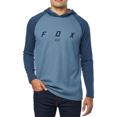 Fox Racing Tranzcribe Long Sleeve Hooded T-Shirt Large Blue Steel