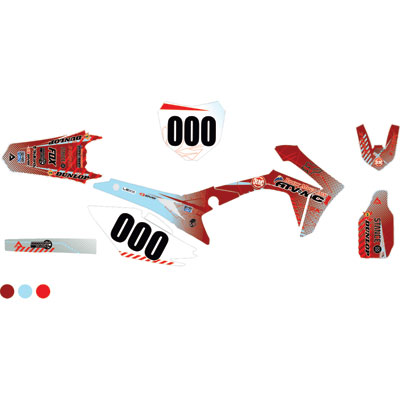 Attack Graphics Custom Havoc Complete Bike Graphics Kit Brick Red/Baby Blue