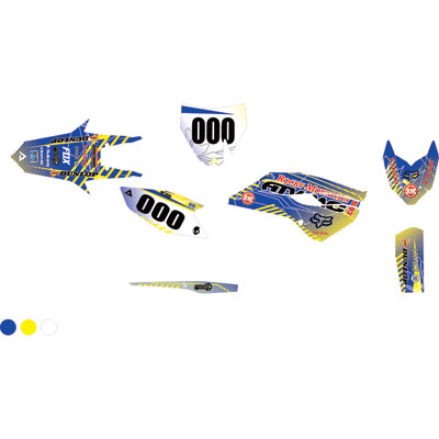 Attack Graphics Custom Havoc Complete Bike Graphics Kit RM Yellow/WORCS Blue