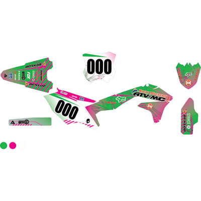 Attack Graphics Custom Havoc Complete Bike Graphics Kit KX Green/Pink
