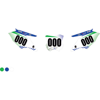 Attack Graphics Custom Havoc Full Coverage Number Plate Backgrounds KX Green/WORCS Blue