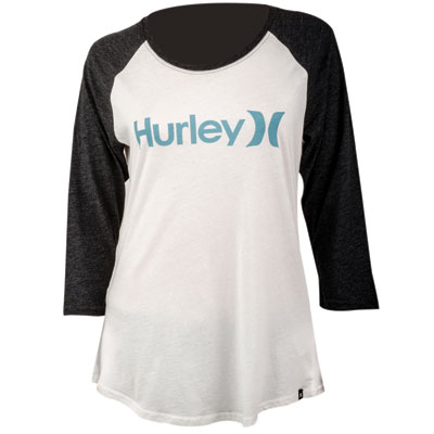 Hurley Women's One & Only Perfect Raglan T-Shirt Large Sail/Legion Blue
