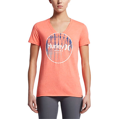 Hurley Women's 4th Of July Perfect V-Neck T-Shirt Medium Bright Crimson Heather