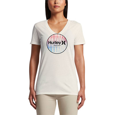 Hurley Women's 4th Of July Perfect V-Neck T-Shirt Medium Sail