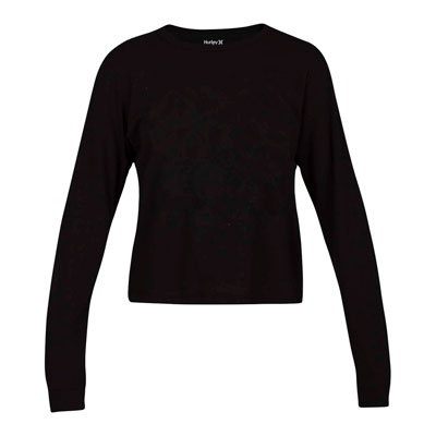 Hurley Women's Solid Perfect Long Sleeve T-Shirt Small Black