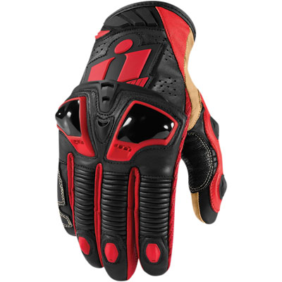 Icon Hypersport Short Motorcycle Gloves XX-Large Red