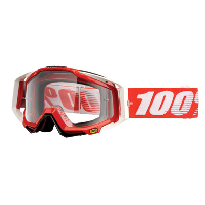 100% Racecraft Goggle  Fire Red Frame/Clear Lens