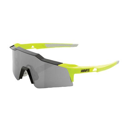 100% SpeedCraft Small Lens Sport Sunglasses Neon Yellow Frame/Smoke Lens
