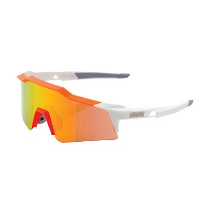 100% SpeedCraft Small Lens Sport Sunglasses White-Orange Frame/Orange Mirror Lens