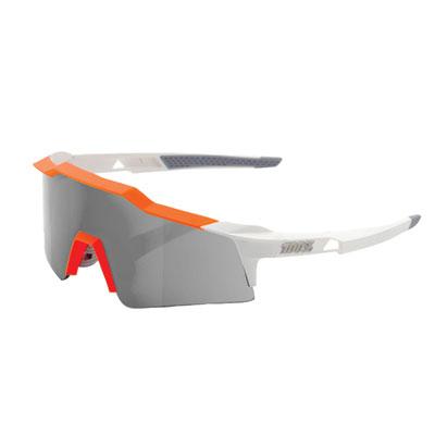 100% SpeedCraft Small Lens Sport Sunglasses White-Orange Frame/Smoke Lens