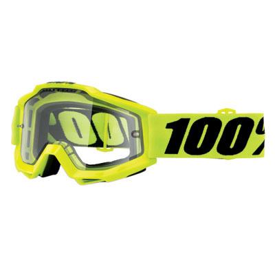 100% Accuri Enduro Goggle  Fluo Yellow Frame/Clear Dual Lens