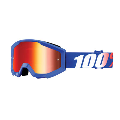 100% Youth Strata Goggle  Nation Frame/Red Mirror Lens