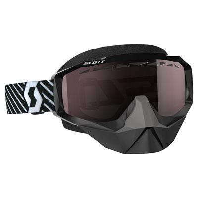 Scott Hustle SnowCross Goggle  Black-White Frame/Amplifier Silver Chrome Lens