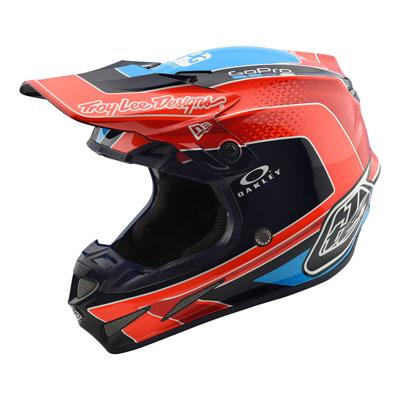 Troy Lee SE4 Squadra Team Carbon Helmet Small Orange